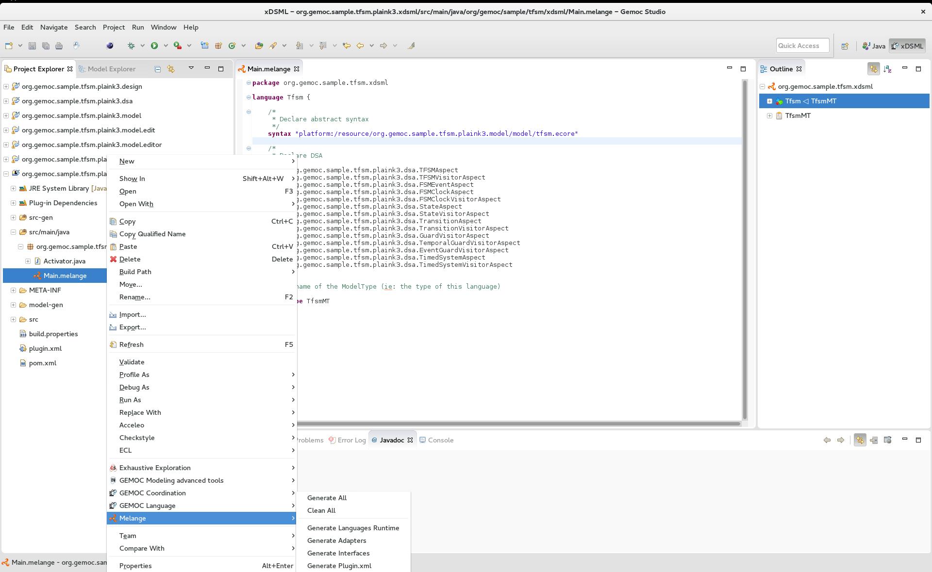 Create a language / Define syntaxes - - GEMOC Studio