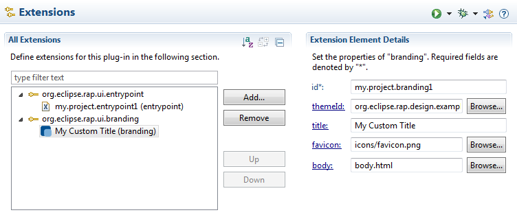 Extension point editor