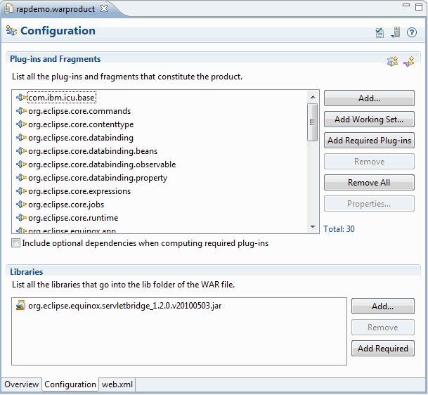 WAR Product editor configuration