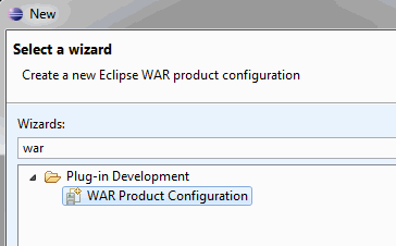 WAR product wizard
